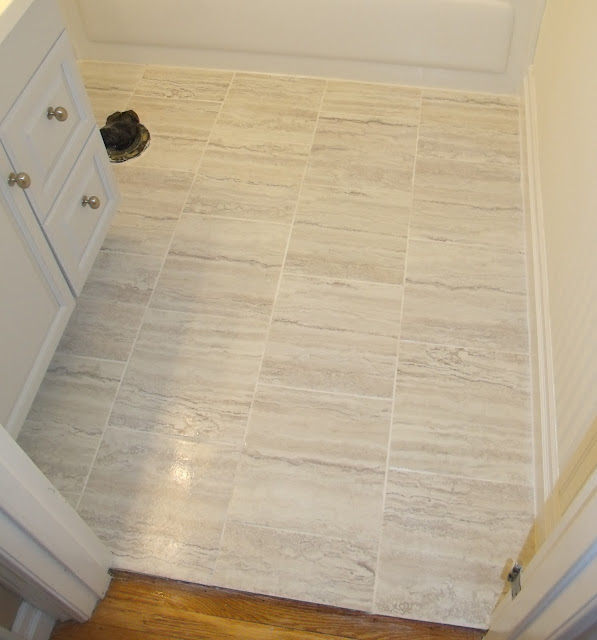Frugal family times how to install peel and stick vinyl tile that you can grout for Bathroom floors without grout