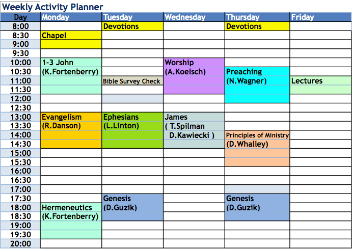 illustration of weekly schedule with color coded items