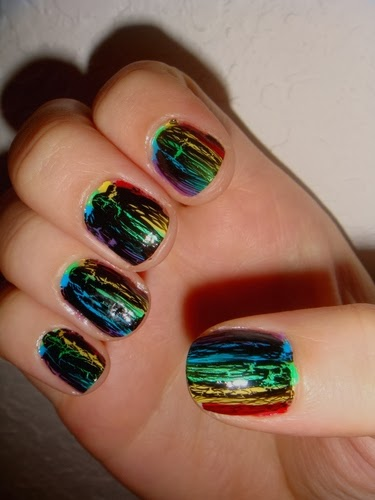 black crackle nail polish rainbow