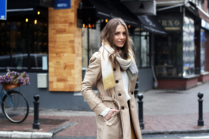 Trench Coat and Sneakers
