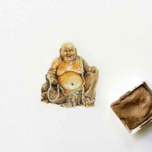 29-Happy-Buddha-Karen-Libecap-Star-Wars-&-other-Miniature-Paintings-and-drawings-www-designstack-co