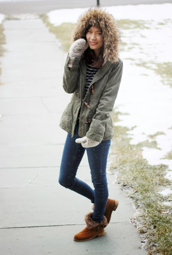 winter outfit, khaki jacket, faux fur hood, winter furry jacket, snow day outfit, blogger style, fashion blogger, favorite winter jacket, street style, winter outerwear, green khaki jacket, af winter jacket, hm jeans, forever 21 boots, canvas june mittens