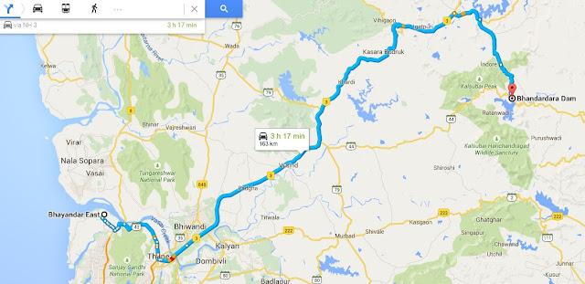 mumbai to bhandardara hill station routemap