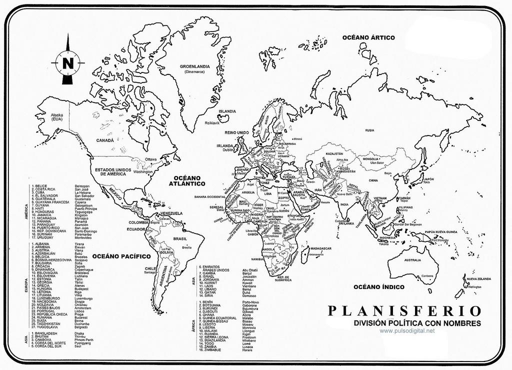 El Planisferio Division Politica Con Nombres