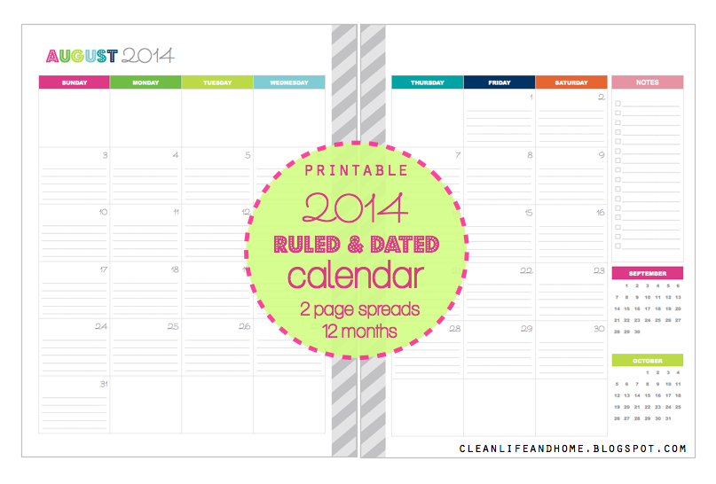 Clean Life and Home: 2014 Calendar { ruled & dated } 2 Page Spreads!