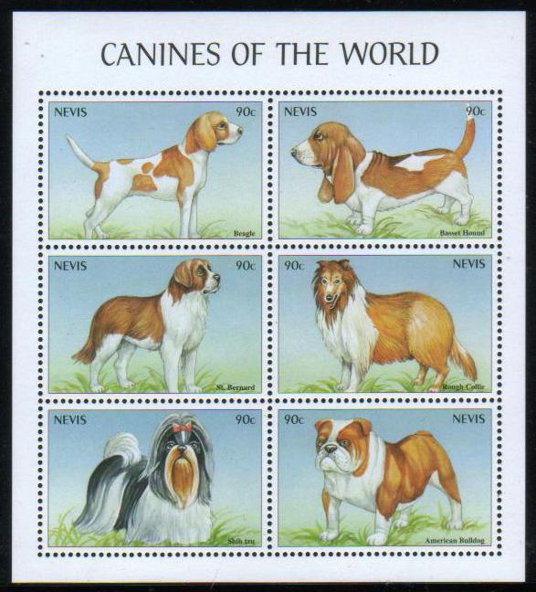 2000年セントクリストファー・ネビス ビーグル バセット・ハウンド セント・バーナード ラフ・コリー シー・ズー アメリカン・ブルドッグの切手シート