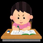 勉強をする女の子のイラスト