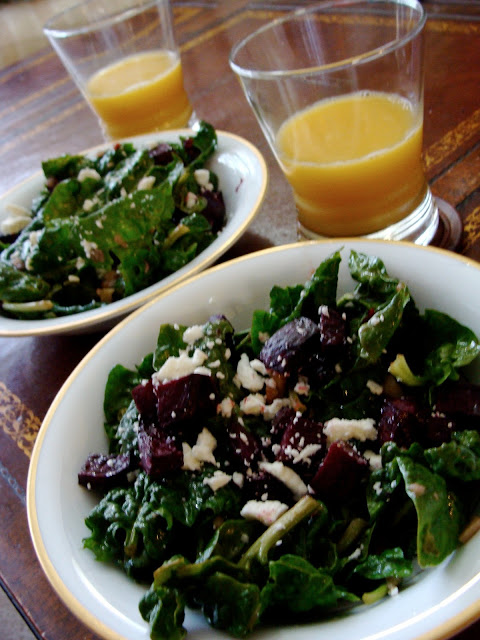 Spinach, Beet, Pecan, and Goat Cheese Salad