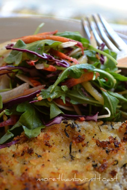 more than burnt toast: Oven Baked Chicken Schnitzel with Sweet Potato ...