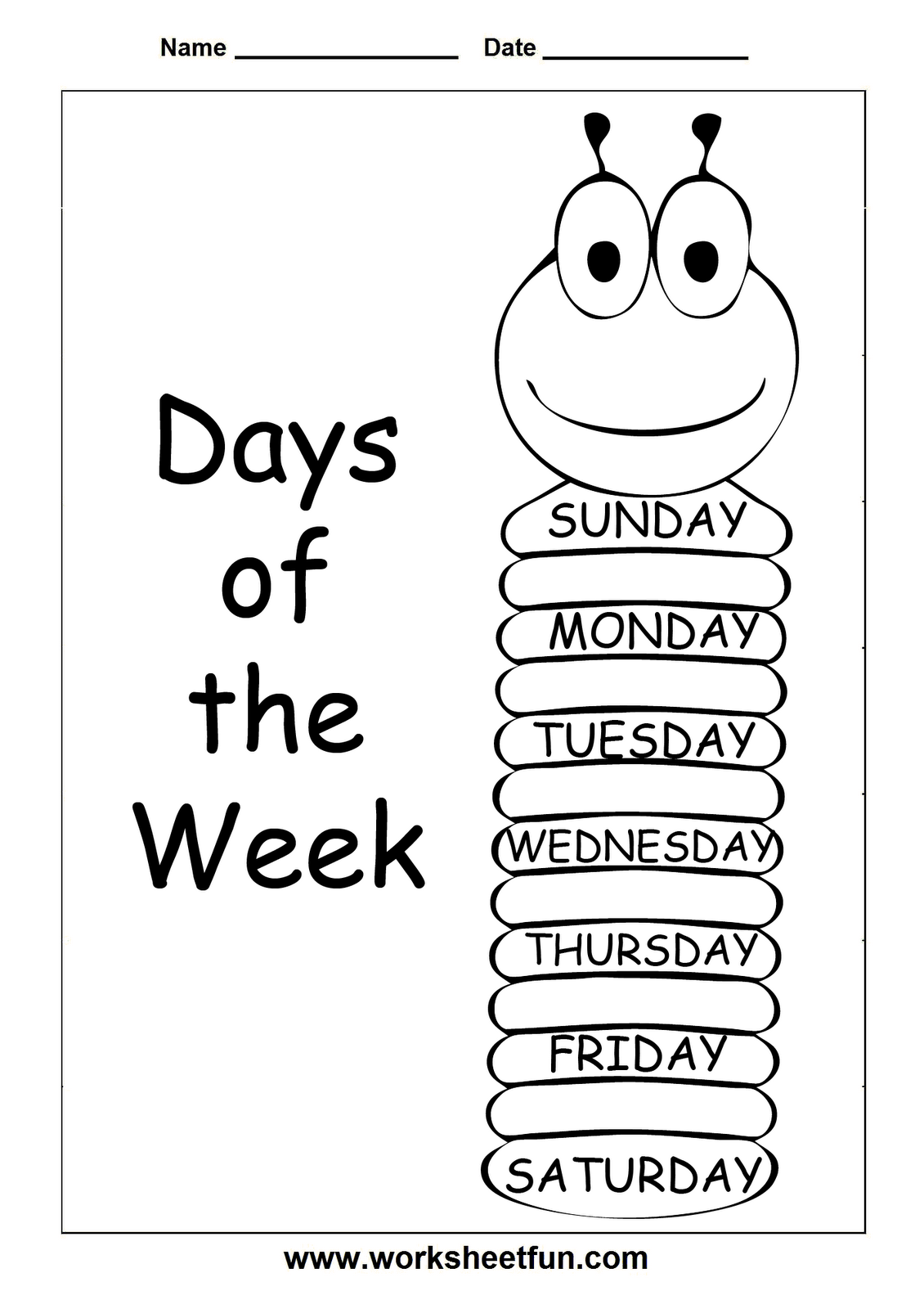 Kinder Anteaters: Days of the Week