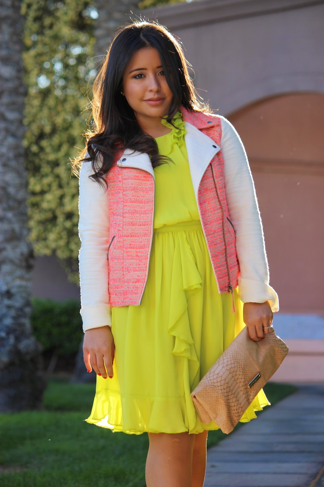 how to wear a neon dress, pink tweed jacket, anthropologie moto jacket