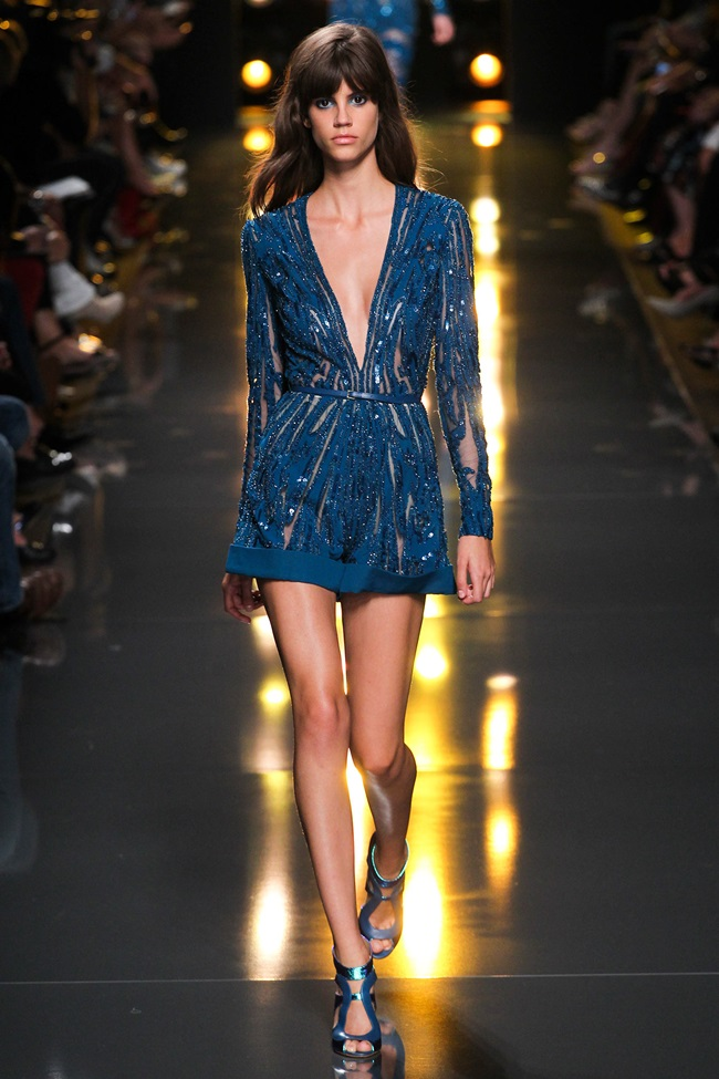 Elie Saab 2015 SS Electric-Blue Sparkling Short Jumpsuit on Runway