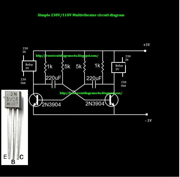 circuit diagrams 4u 230v 110v simple multivibrator circuit not only that if you like to attach this circuit for you car you can attach 12 v to the relay as a switch this circuit can be operated 3v power