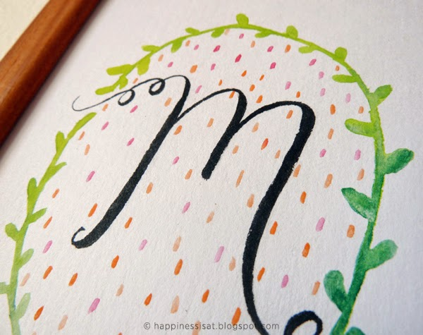 Custom monogram illustration by Happiness is... (Durban freelance illustrator and graphic designer)