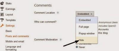 Cara Memunculkan/Menghilangkan Kotak Komentar Blog