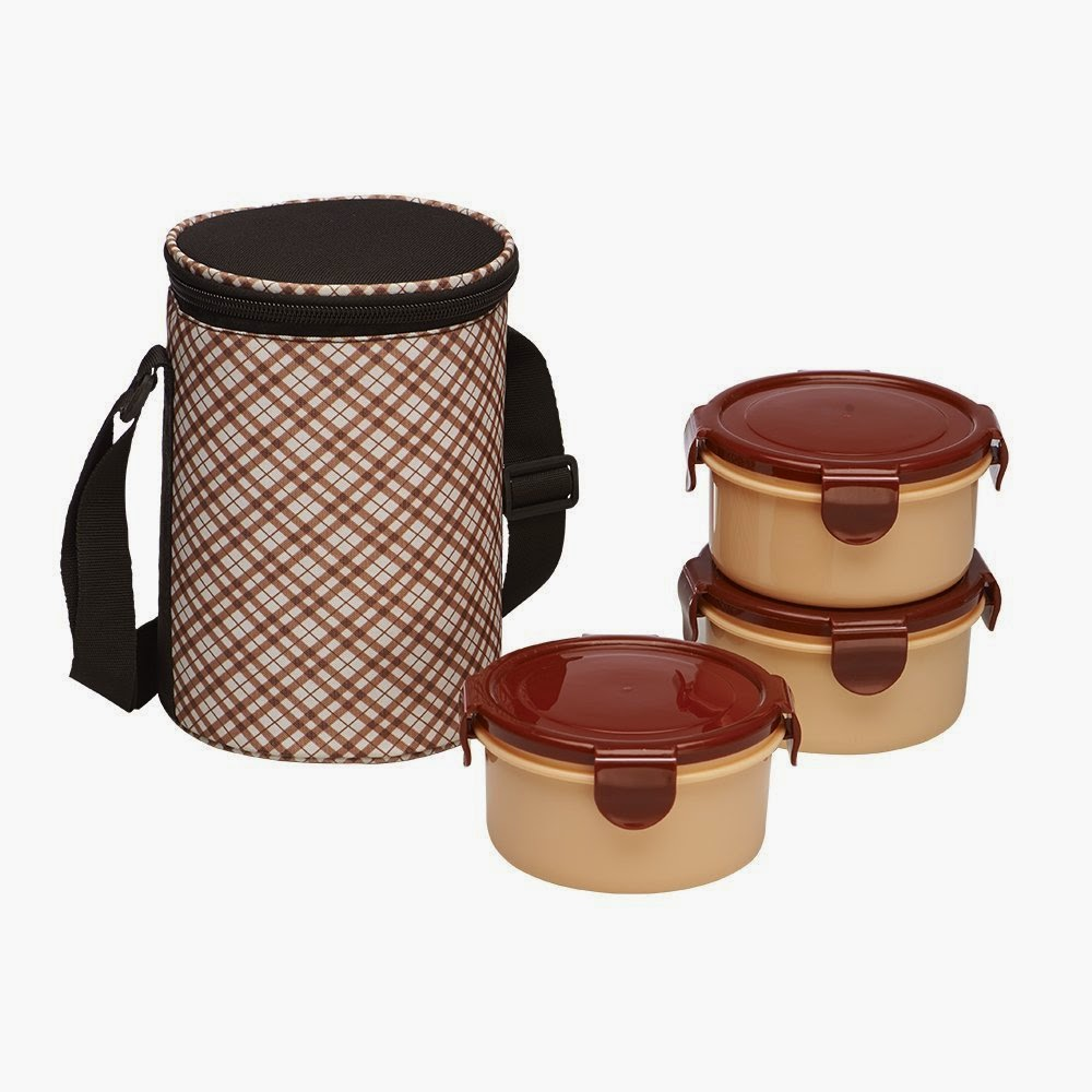 Buy Ruchi Super Lock & Seal Vertical Tiffin Set with Bag, Maroon Rs. 249 only at Amazon.