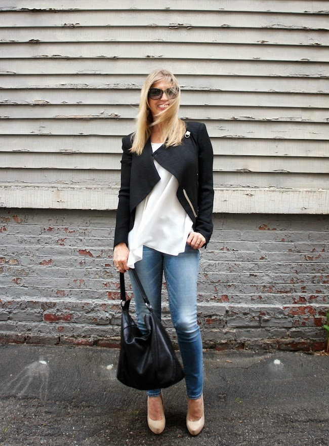 Helmut Lang cropped jacket, Anne Fontaine leather perforated tank, American Eagle jeggings