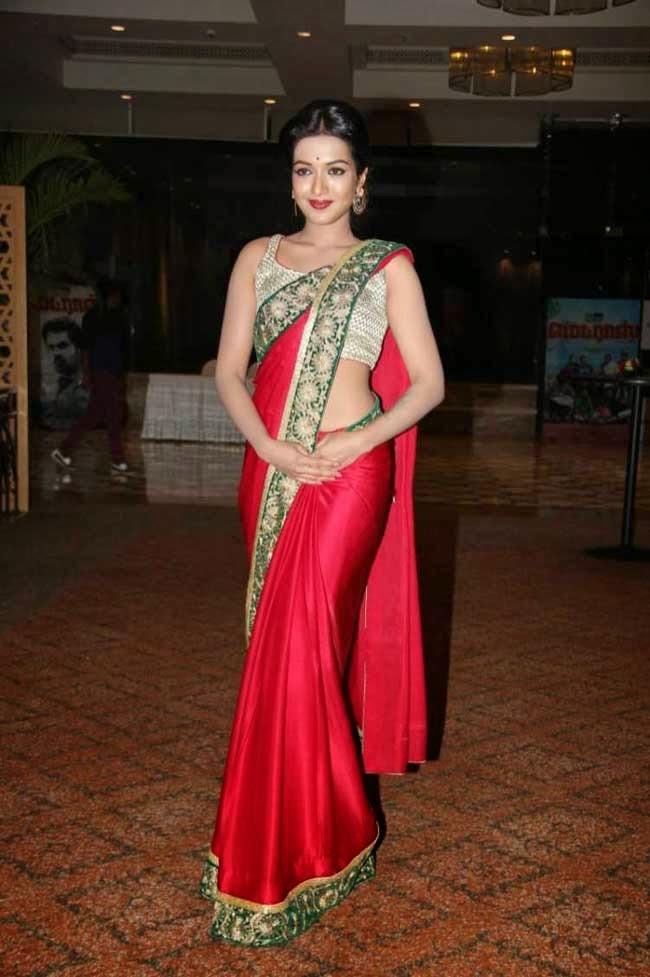Actress Catherine Tresa In Red Satin Saree