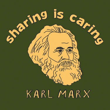 "Image of Karl Marx's head with the caption ""sharing is caring."""