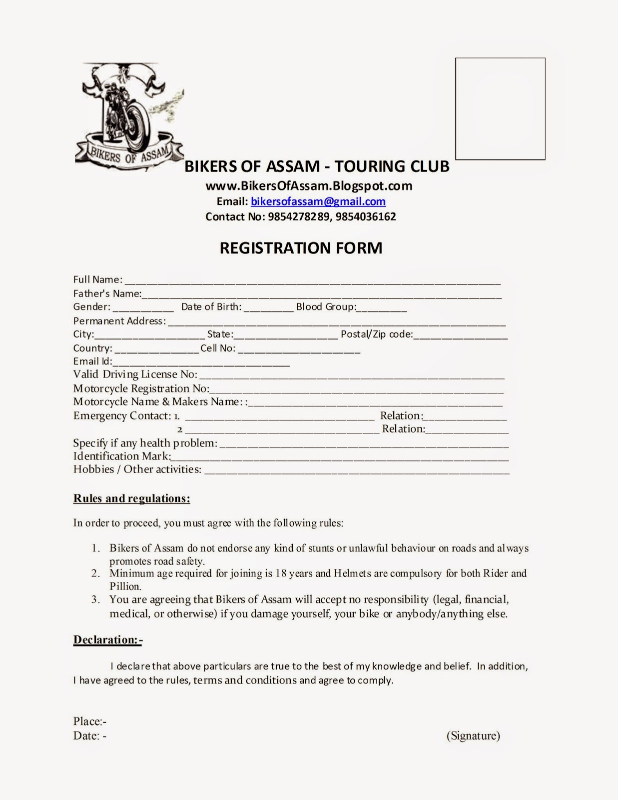 motorcycle club application form Bikers Of Assam Touring Club: Bikers of Assam - Touring Club ...