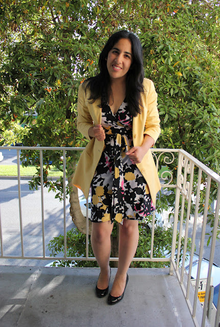 Floral Dress and Bold Blazer