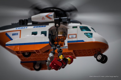 Bristow Coastguard Helicopter. Lego Mountain Rescue Team training