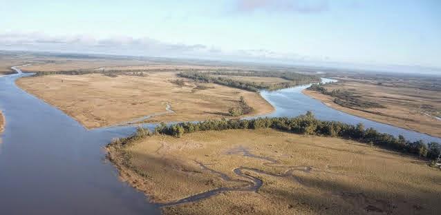 Vista aérea del Río Santa Lucía - Puerto Santa Victoria