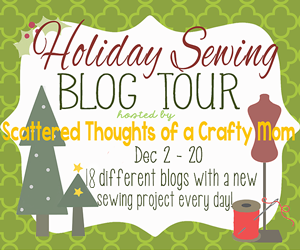 Holiday Sewing Blog Tour: 18 different bloggers with 18 different Holiday Sewing Projects.  Ending with a giveaway for a Brother 1034d serger om 12/21/13.