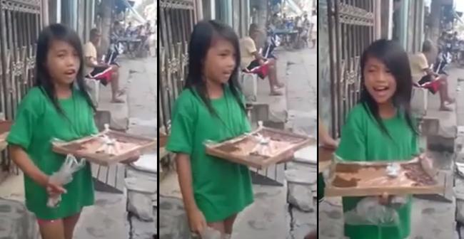 Filipino Girl Selling Rice Cake (Bibingka) While Singing 'Sayang na Sayang'