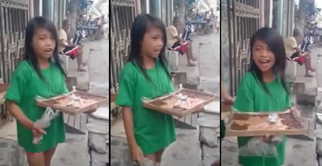 Filipino Girl Selling Rice Cake (Bibingka) While Singing 'Sayang na Sayang'