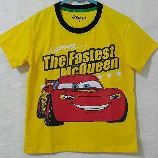 Baju Anak Karakter Cars Kuning Size 1 - 6 Tahun