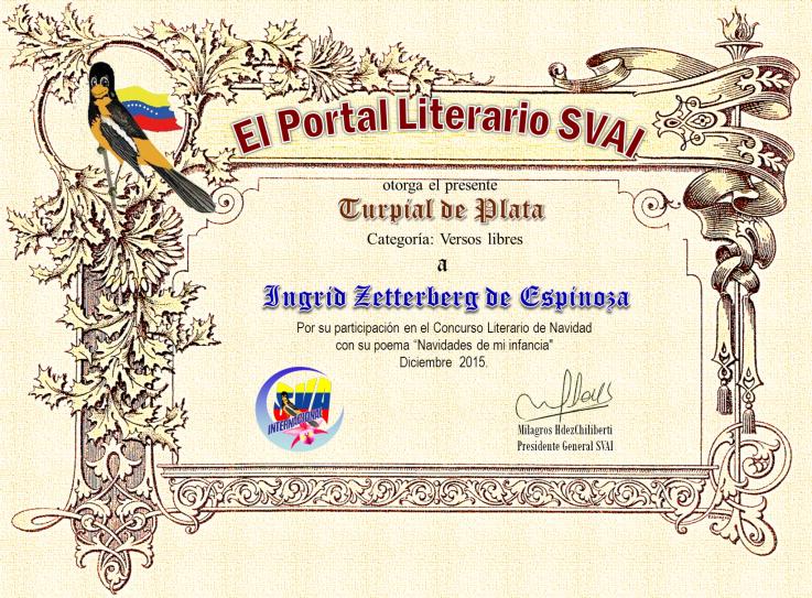 Segundo puesto en Sociedad venezolana de artistas internacionales