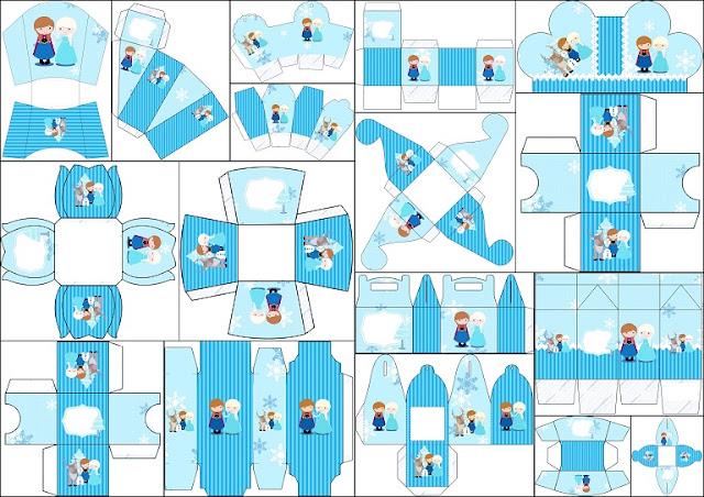 Frozen Niñas en Navidad: Cajas para Imprimir Gratis.