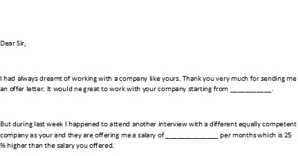 letter of negotiation of salary