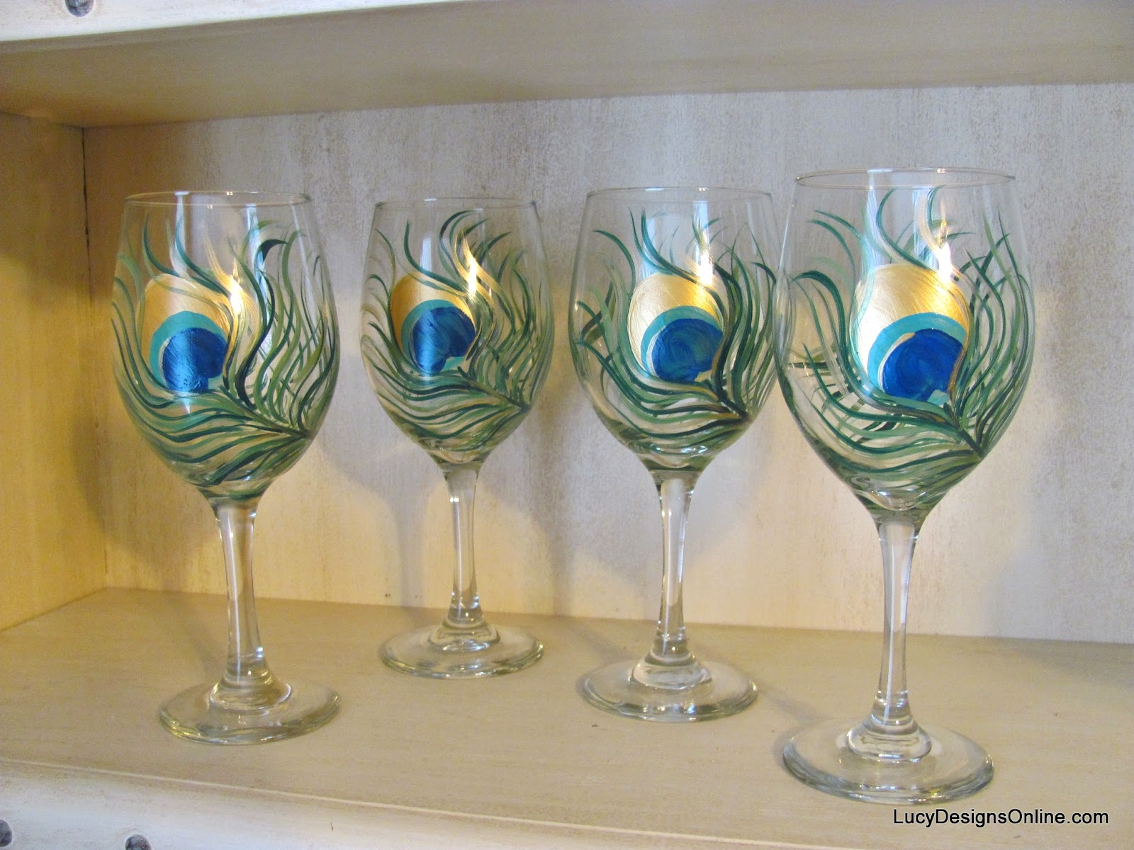 peacock feather wine glasses with glass paints