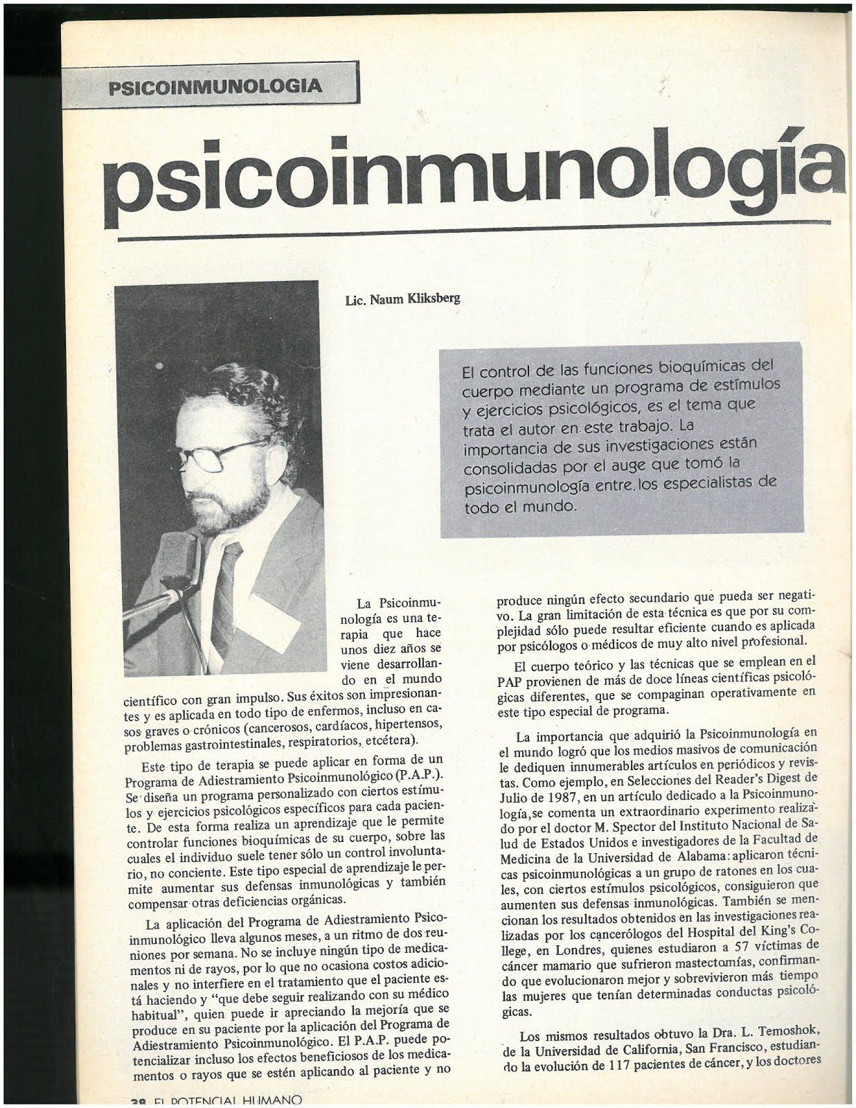 6 -Revista El potencial humano,2/1988,Argentina. ArtÍculo de Naum Kliksberg sobre Psicoinmunologia