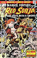Red Sonja riding a demon horse!