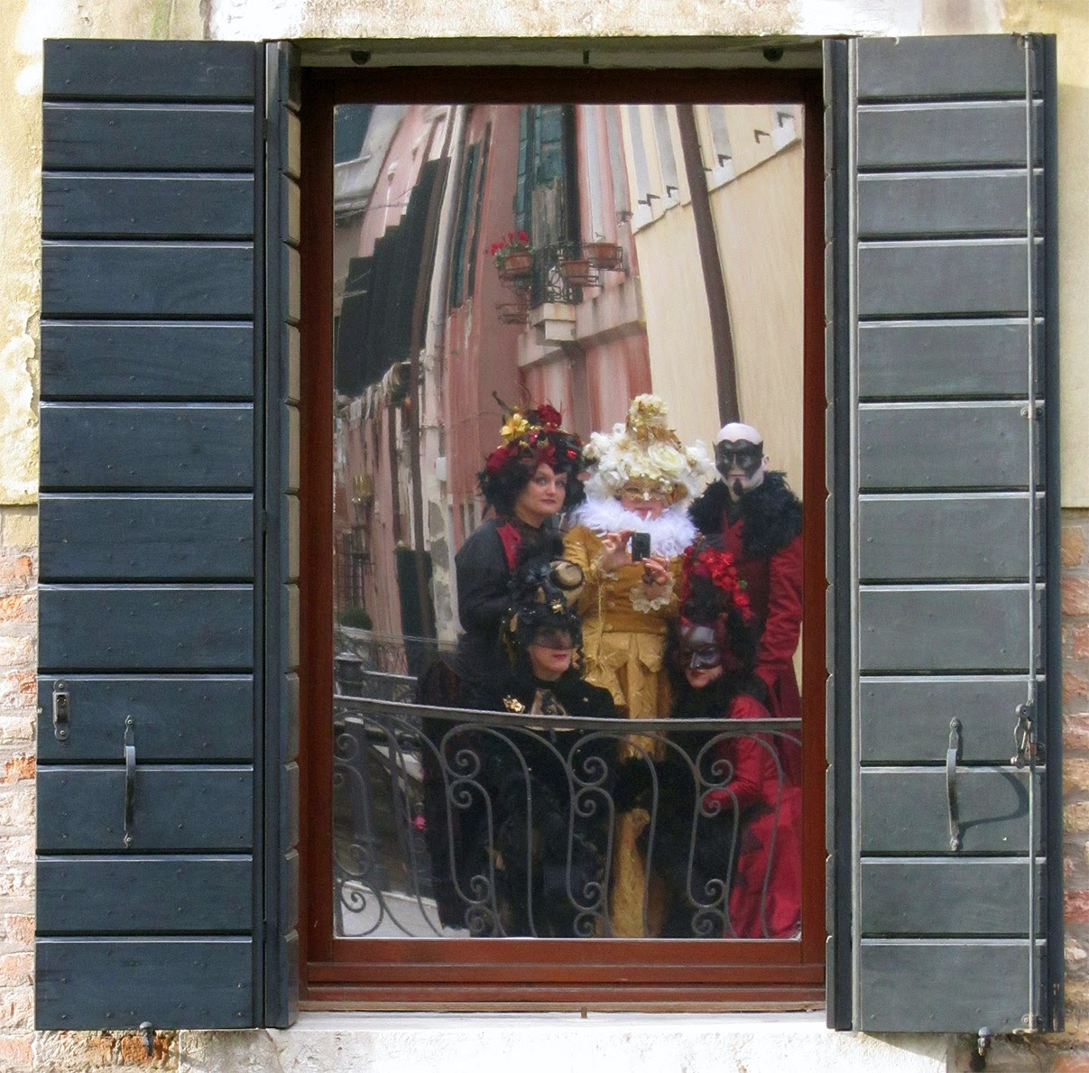 costumed us reflected in window