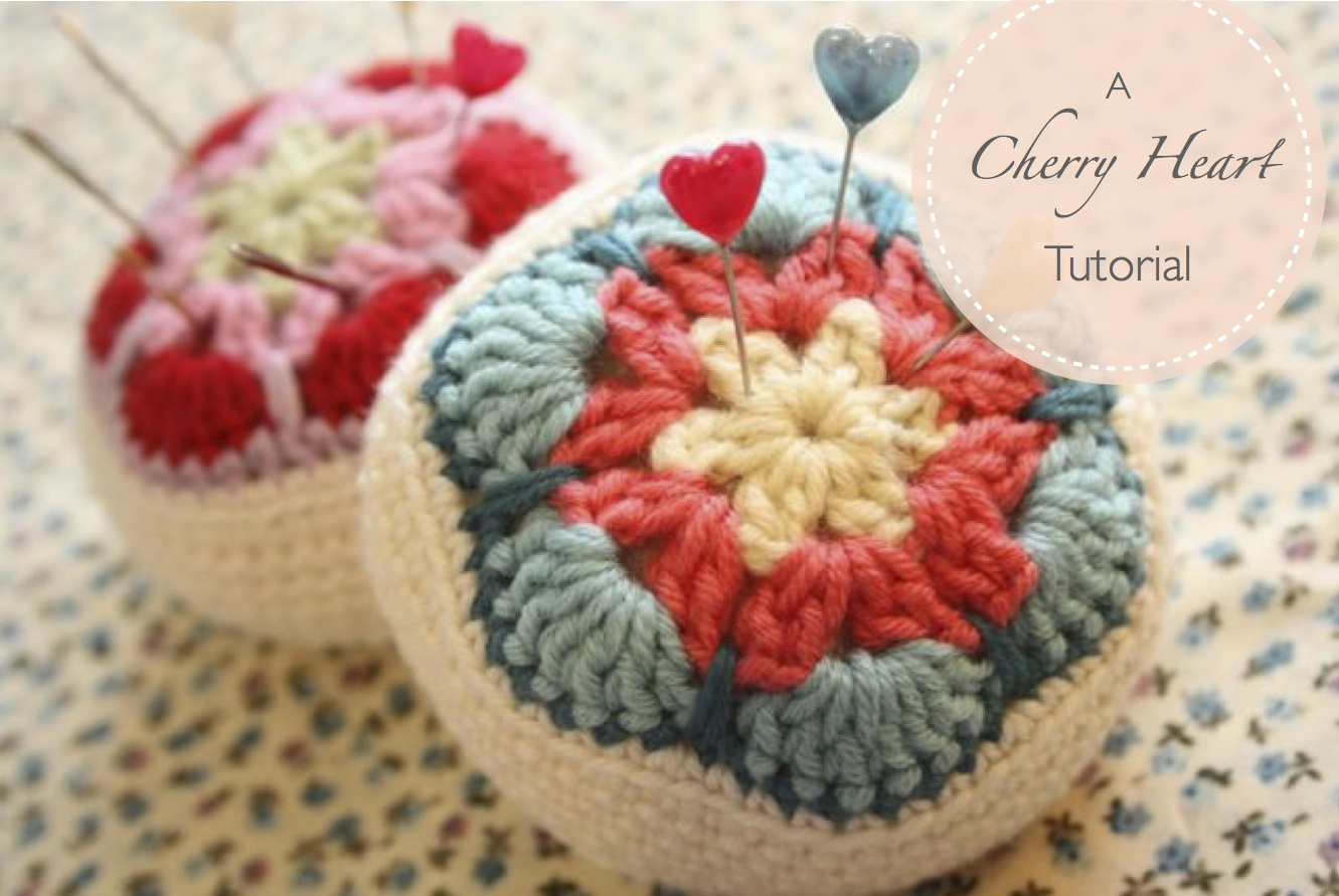 Crochet Patterns Tutorial : Cherry Heart: Blog: Crocheted African Flower Pincushion Tutorial