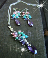 Purple Friends - Swarovski Infused Necklace + Earrings