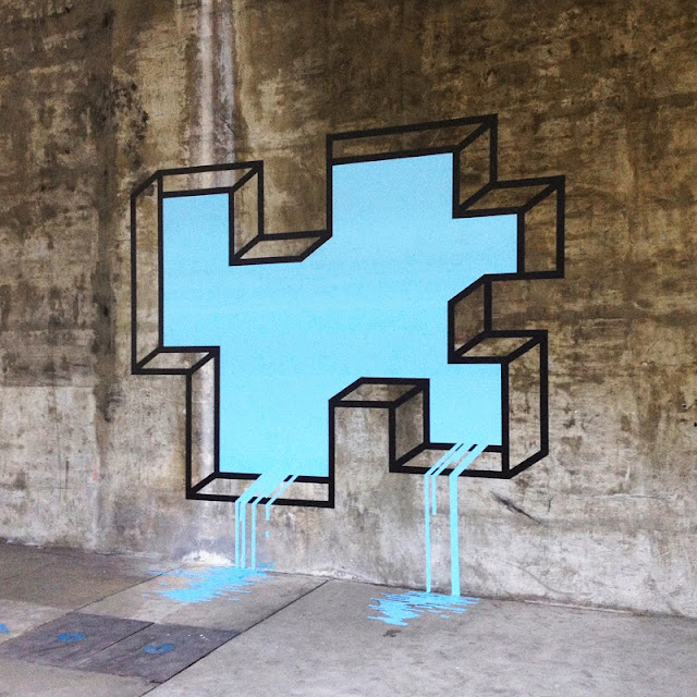 """L.A Leaker"" New Street Art Piece By Aakash Nihalani On The Streets Of Los Angeles, USA. 2"
