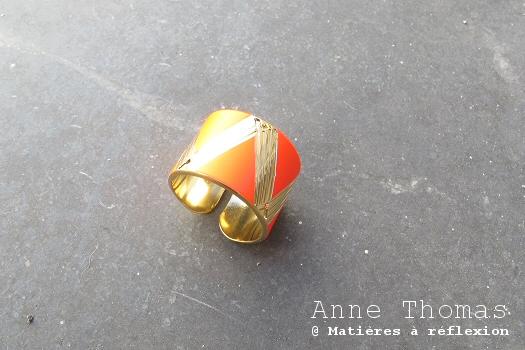 Bijoux Anne Thomas bague géométrique 1920 rouge doré