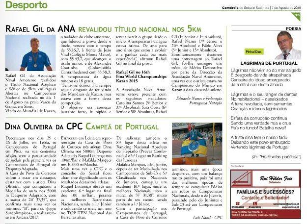 JORNAL COMÉRCIO SEIXAL e SESIMBRA nº 290 de 07 Agosto de 2015