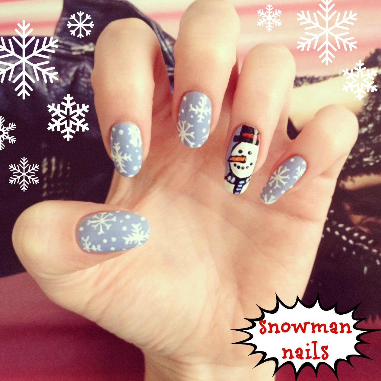 Snowman Nail Art Tutorial: How To: Christmas Snowman Nail Art!