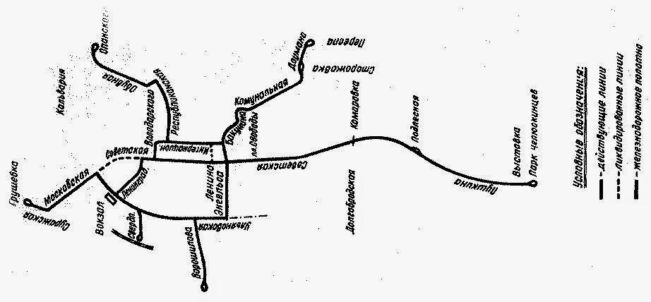 Схема движения минской конки