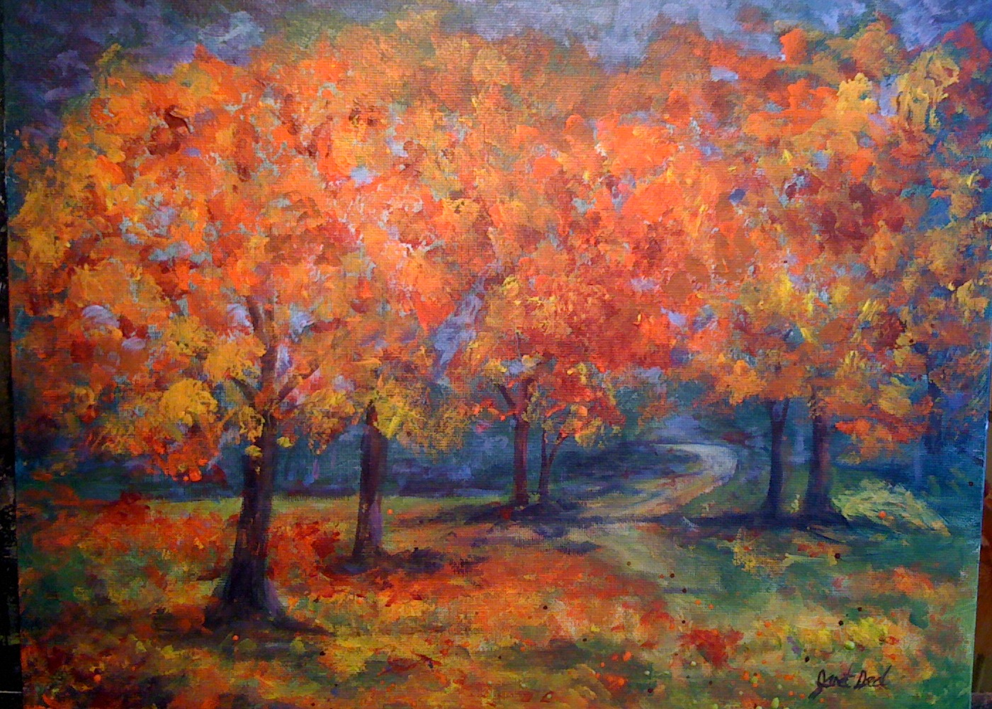 painting fall trees in acrylic images