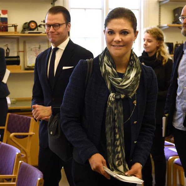 Crown Princess Victoria of Sweden, Crown Prince Daniel of Sweden and and their daughter Princess Estelle of Sweden visited a school in Smedby outside Kalmar