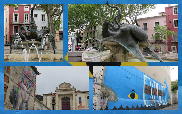 Street art and sculpture in Sete, France including a giant octopus