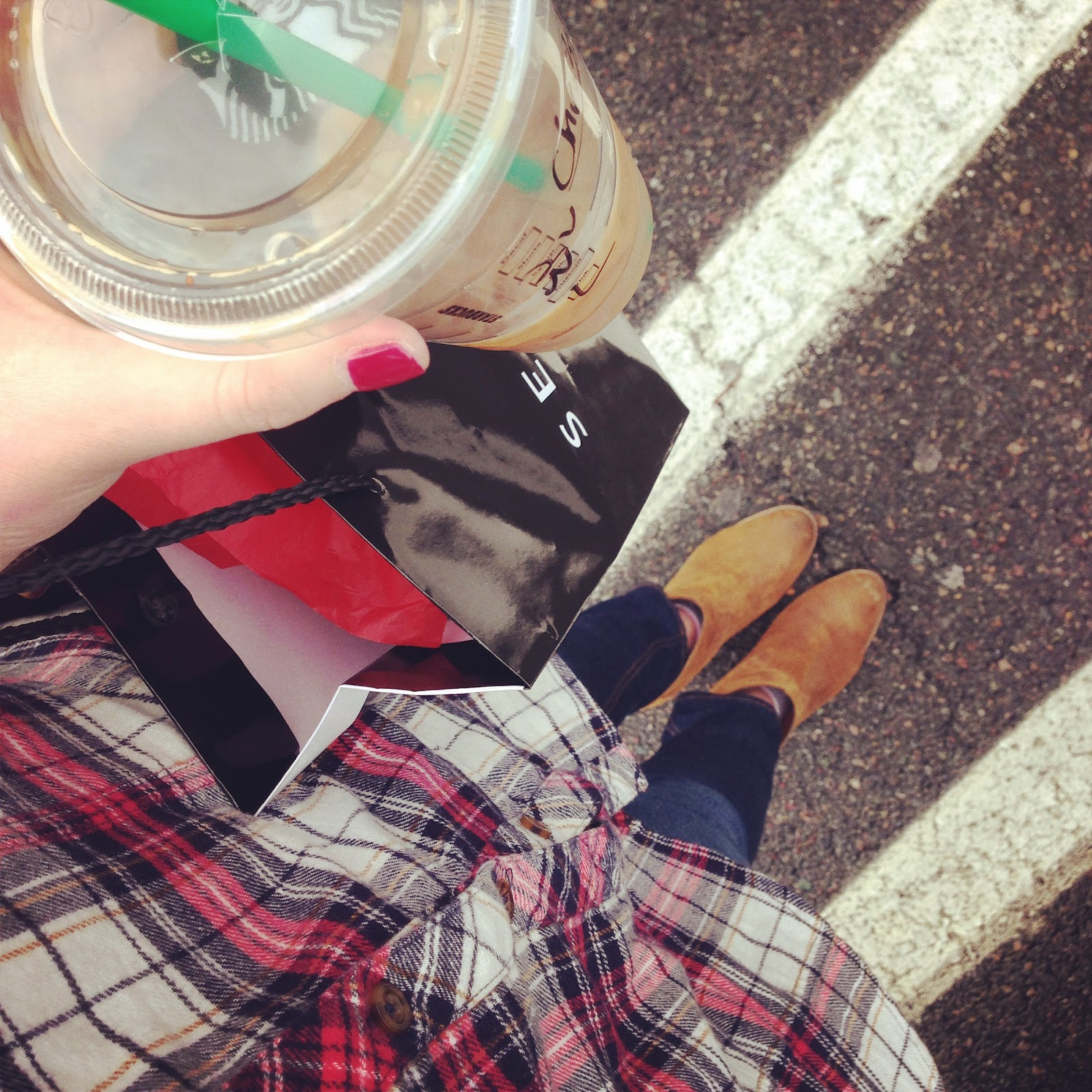 forever 21 flannel top, dolce vita booties, starbucks saturdays