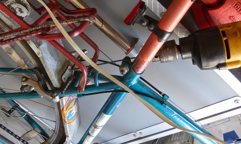 drilling off old fender bracket